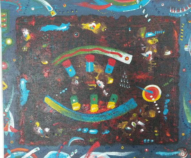 Alan Taylor (NZ) - Maori Folk Motif 5 - Acrylic on canvas board