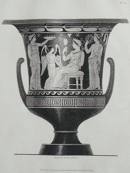 Mezzo Tint Printed circa. 1820 - Amphora Vase III