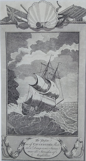Ships Cavendisth - Copper Plate Engraving C. 1780