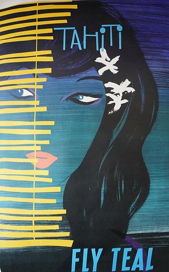 Tahiti Fly Teal Original poster 1950s Lithograph