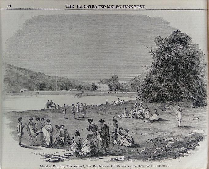 Kawau 1860s Original Wood Block Print