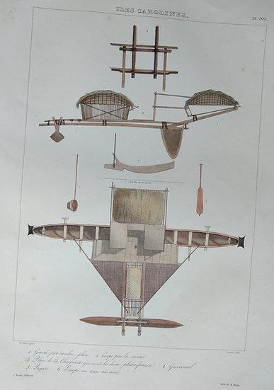 Iles Carolines - Voyage de l'Astrolabe. 1835 original hand coloured engraving