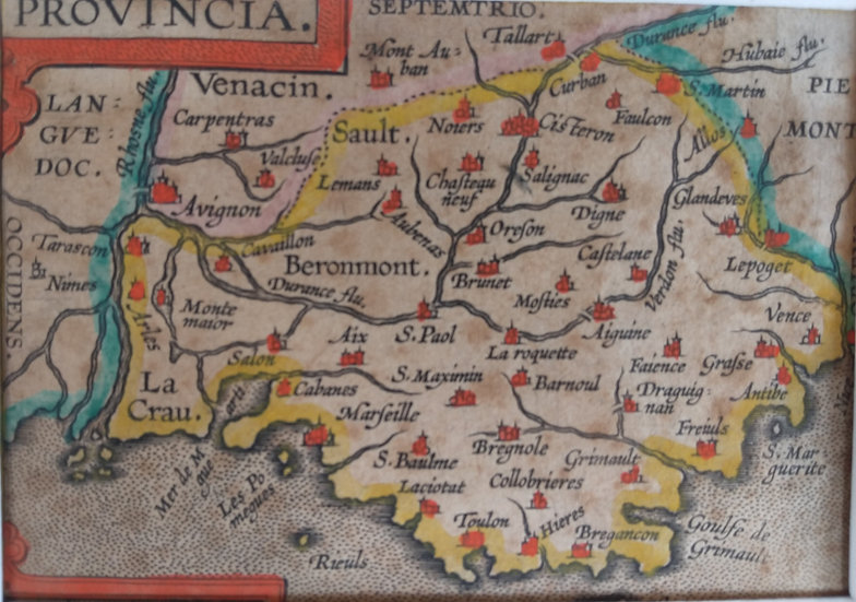 Provincia by Ortelius. Hand coloured copper plate engraving. 1601