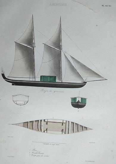 Amboine (II) - Voyage de l'Astrolabe. 1835 original hand coloured engraving