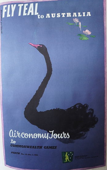 Fly Teal to Australia Poster featuring Black Swan 1960s
