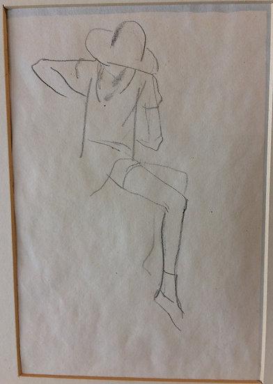 George Woods Original Sketch -Girl Sitting