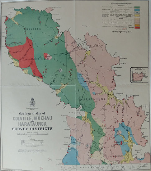Geological Map of Colville Moehau Harataunga 1899 Lithograph