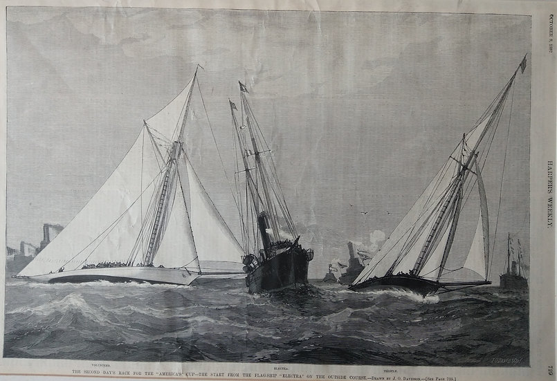 America's cup - Electra, Voyager and Thistle. Wood engraving 1887 Harpers Weekly