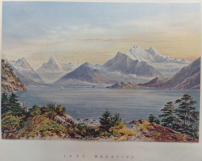 Lake Wakatipu. Original Chromolithograph 1877 after painting by C.D. Baraud