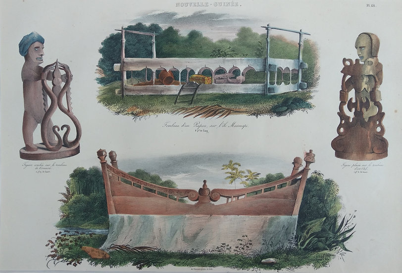 Figures and Tombeau -  Original Hand Coloured French Lithograph C. 1835