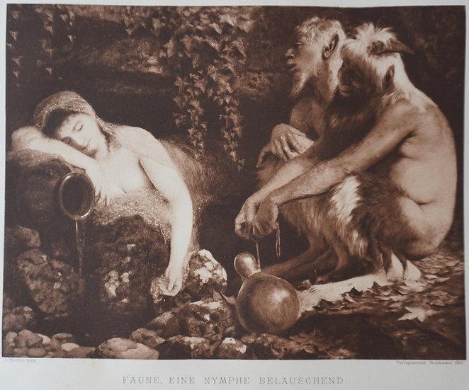 Faune, eine nymphe Belauschend. Original gravure C. 1885. Arnold Bockin, Swiss.