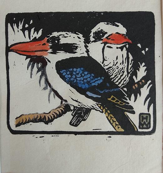 Kookaburras - Hilda Wiseman - Hand Coloured Linocut C.1940s