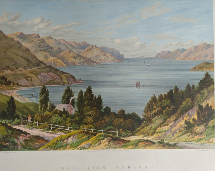 Lyttleton Harbour by C.D. Barraud Original Chromolithograph