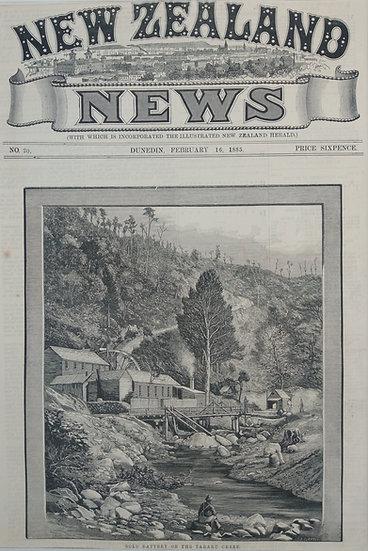 Gold Battery Toraru Creek - Original Wood Engraving C. 1885 NZ News