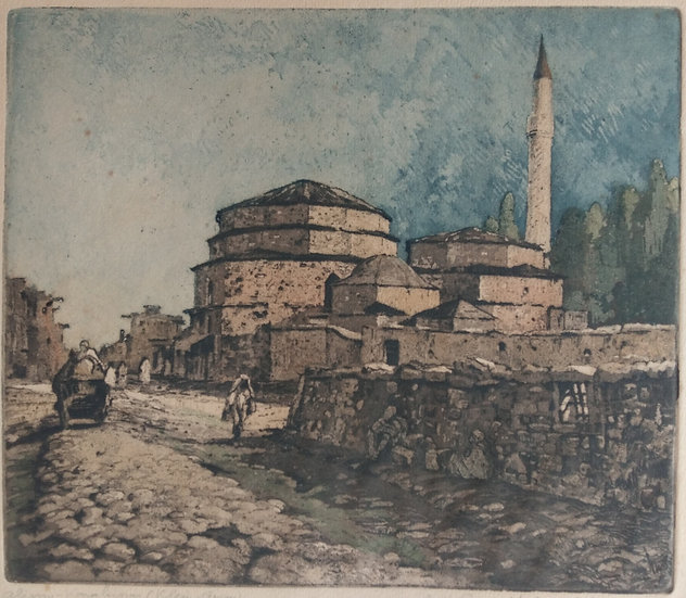 H. Wagner coloured etching Middle Eastern Building 1915