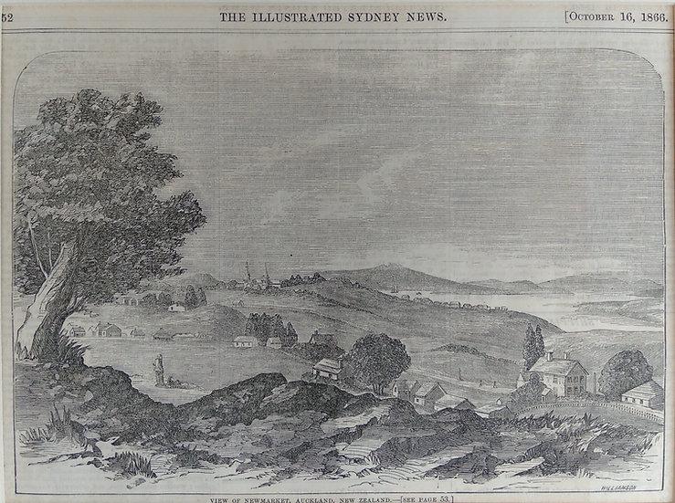 View of New Market (Auckland) 1866 - Original Wood Block Print