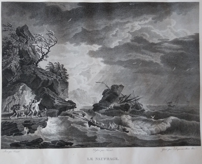 Le Naufrage - French Engraving Sea-scapes Early 19th C