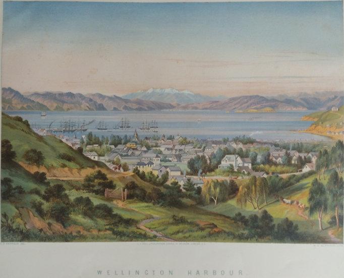 Wellington Harbour by C.D. Barraud Original Chromolithograph