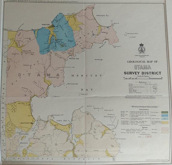 Geological map of Otama (Mercury Bay). Coloured lithograph 1907