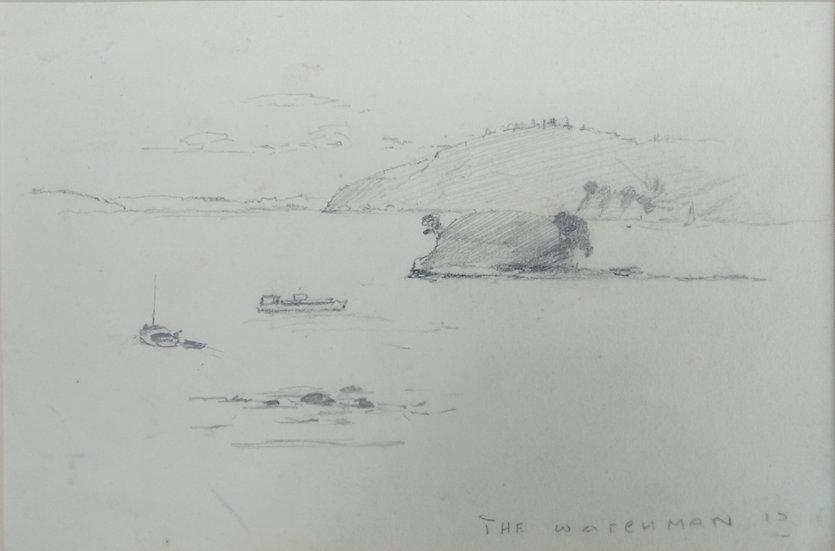 Original Trevor Lloyd drawing C.1920 - Pencil Sketch Watchman Islands (II)