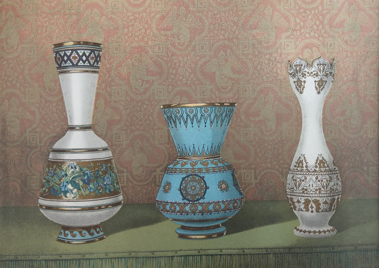 Chromolithograph - Enamelled Glass 1862 Russia