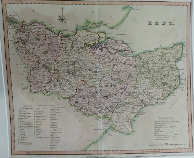 Kent Map. Hand coloured engraving. 1831 printed by Henry Teasedale London