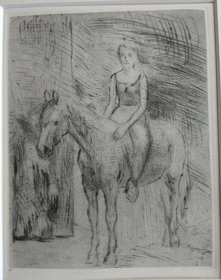 Woman on horse - Fritz Wrampe German Original Etchings Figurative C. 1930.