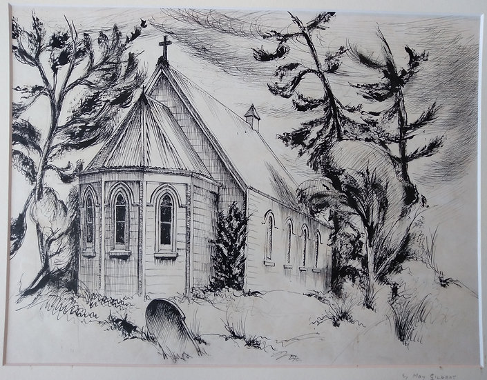 Pen and Ink May Gilbert. Church Parnell 1950s