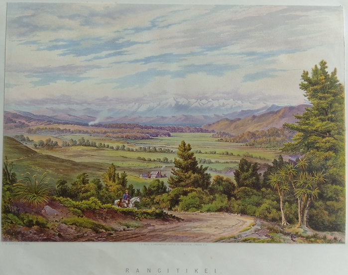 Rangitikei. Original Chromolithograph 1877 after painting by C.D. Baraud