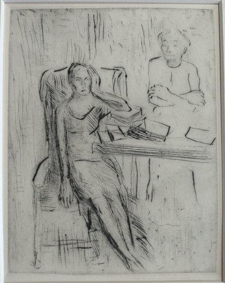 Woman at desk - Fritz Wrampe German Original Etchings Figurative C. 1930.