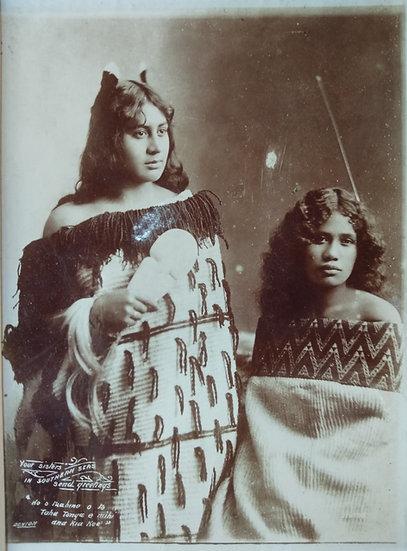 Silver iodide photograph by Deaton - 2 Maori girls. Circa 1900