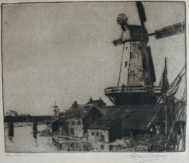 E. Pattison Etching. The Mill. Early 20th Century