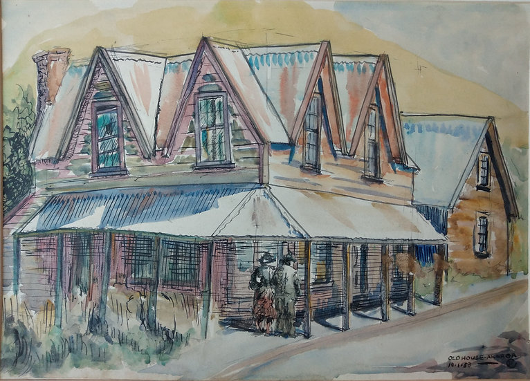 Phyllis Crowley 1958 Old House Akaroa. Water colour