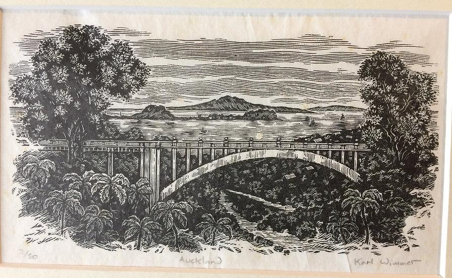 Karl Wimmer Original Wood Engraving - Auckland