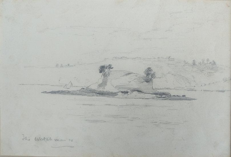Original Trevor Lloyd drawing C.1920 - Pencil Sketch Watchmans Islands Auckland