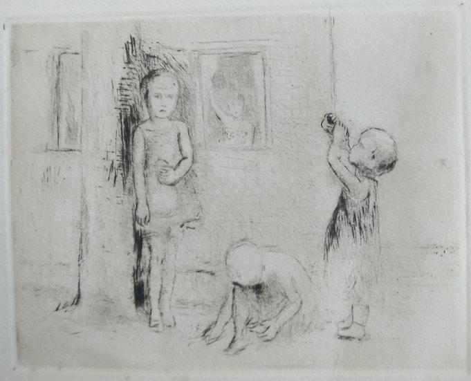 Children - Fritz Wrampe German Original Etchings Figurative C. 1930
