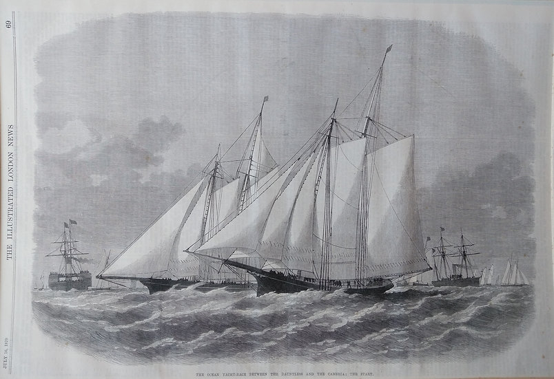Dauntless and the Cambria Wood Engraving 1870