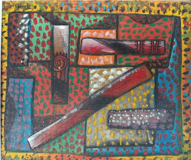 Alan Taylor (NZ) - Maori Folk Motif 7 - Acrylic on canvas board