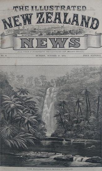 Upper Waitakere Falls - Original Wood Engraving C. 1885 NZ News