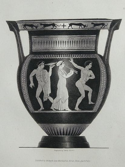 Mezzo Tint Printed circa. 1820 - Amphora Vase II