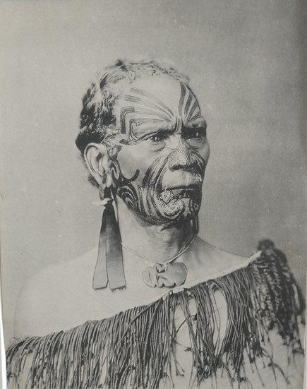 Maori Chief Hoera Watne by Josiah Martin.  Platinotype Circa 1900
