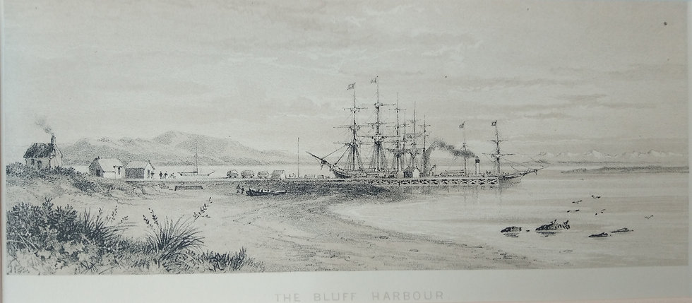 The Bluff Harbour - Barauds Lithographs Circa 1877