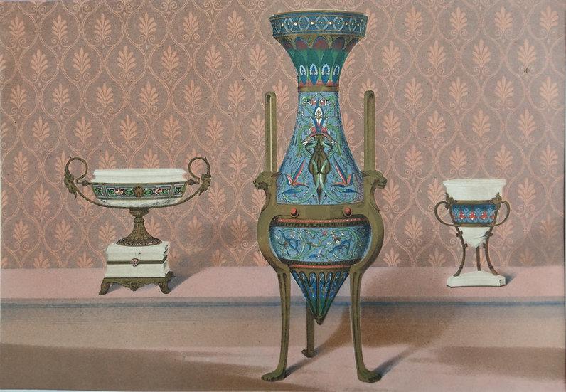 Chromolithograph - Enamel Vases 1862 World Fair In London