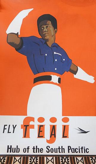 Fly Teal Fiji 1950s Original Silkscreen - Excellent condition