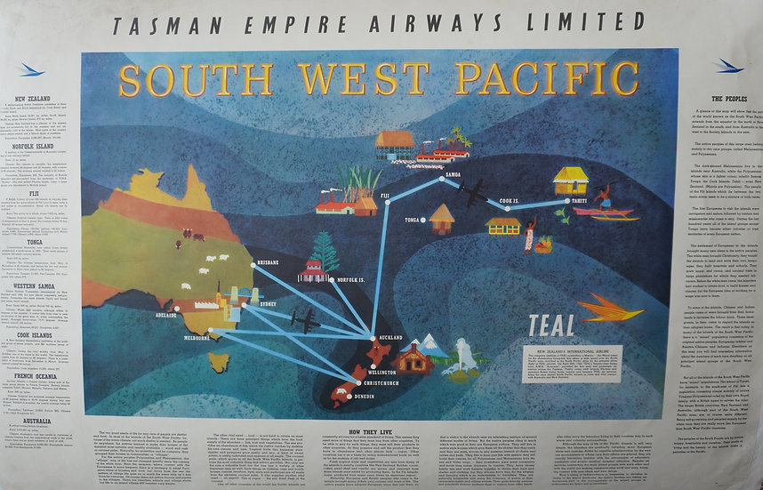 Teal South West Pacific Poster flight destinations Lithograph