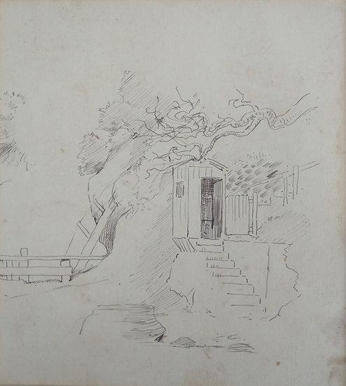 Original Trevor Lloyd drawing C.1920 - Pencil Sketch Cheltenham Beach