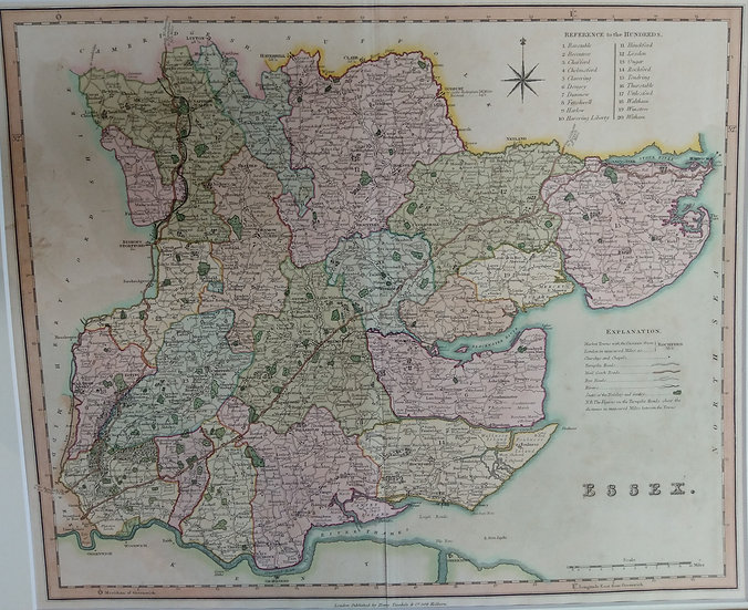 Essex map. Hand coloured engraving. 1831 printed by Herny Teasdale London
