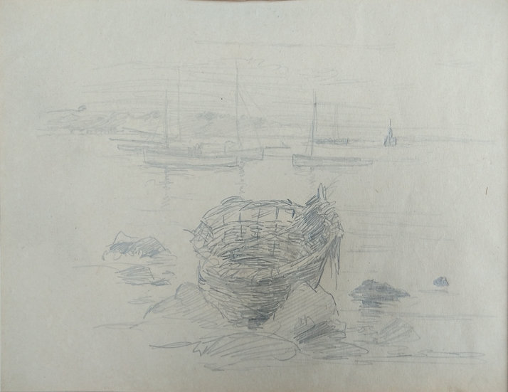 Original Trevor Lloyd drawing C.1920 - Pencil Sketch Auckland Harbour