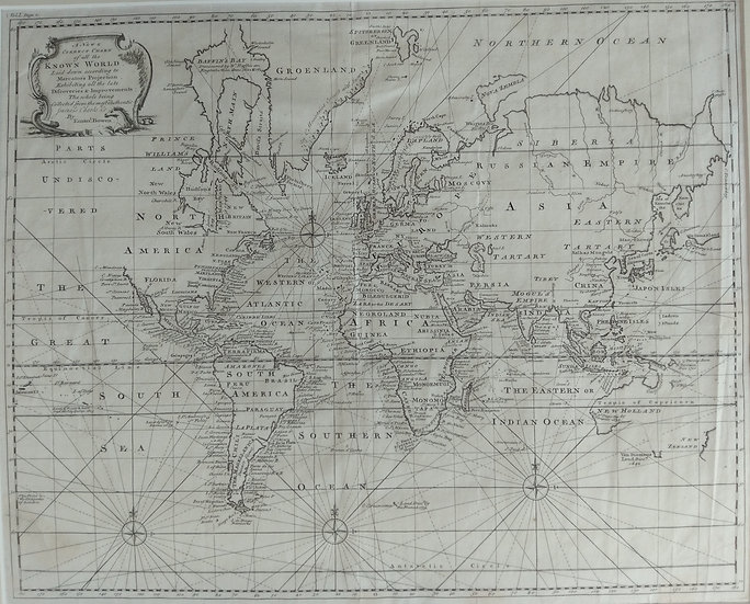 Map of the world 1744 by Emanueal Bowen