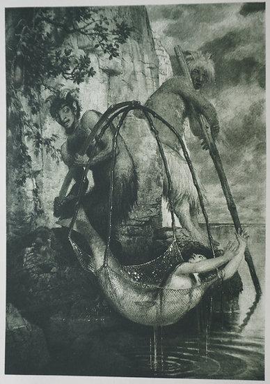 Fischender Pan. Original gravure C. 1885. Arnold Bockin, Swiss. 250 X 300 mm